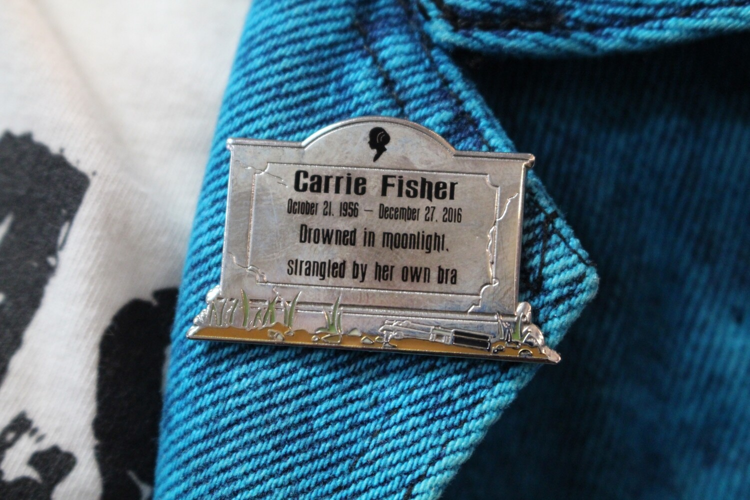 Carrie Fisher Headstone Pin