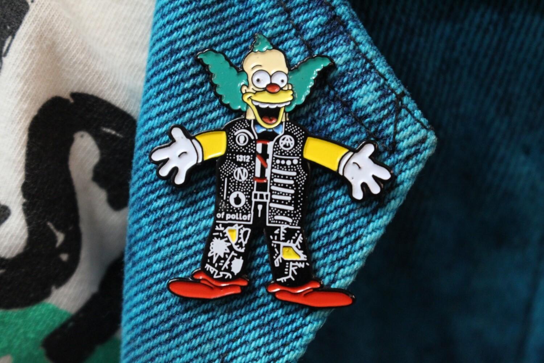 Krusty Punk the Clown Parody Pin