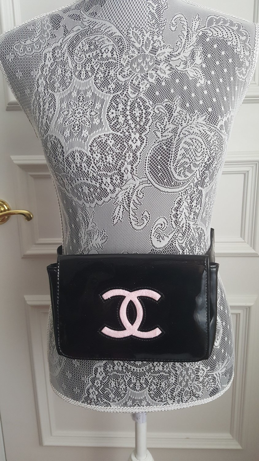 Chanel VIP Black Patent Leather Fanny Pack Clutch