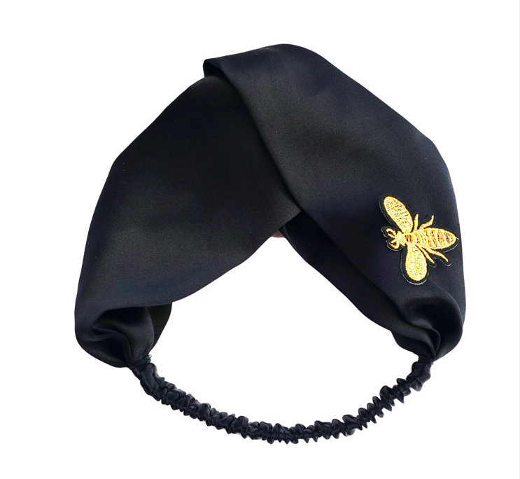 Gucci Gold Embroidery Bee Silk Headband