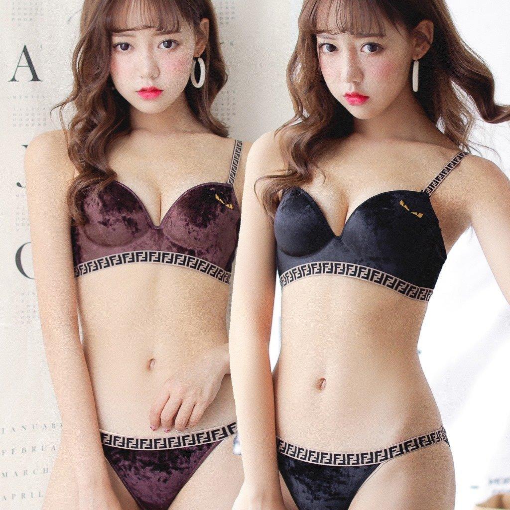 Designer Inspired Double F Velvet Bra & Panty Set With Devil Eyes