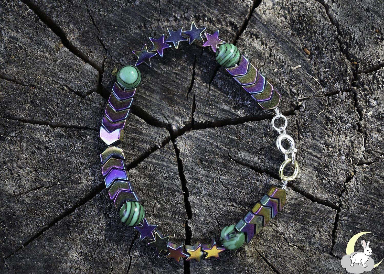 Multi-Luster Hematite and Malachite Bracelet