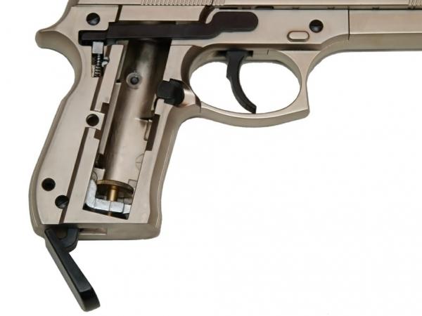 Пистолет Umarex Beretta M92 FS (никель, с чёрными накладками)