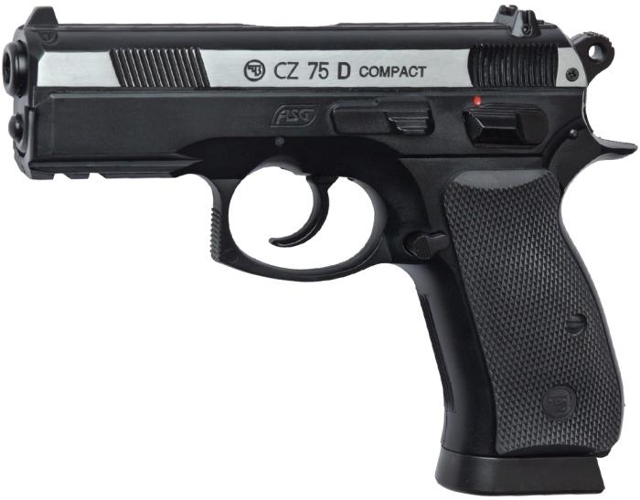 Пистолет ASG CZ-75 D Compact (никелированный затвор) 01577