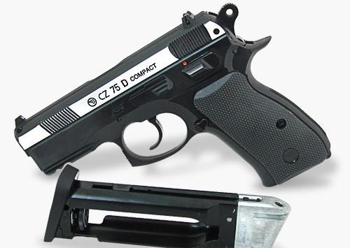 Пистолет ASG CZ-75 D Compact (никелированный затвор)