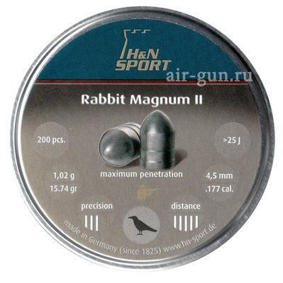 Пули пневматические H&N Rabbit Magnum II (200 шт, 4,5 мм, 1,02 г)