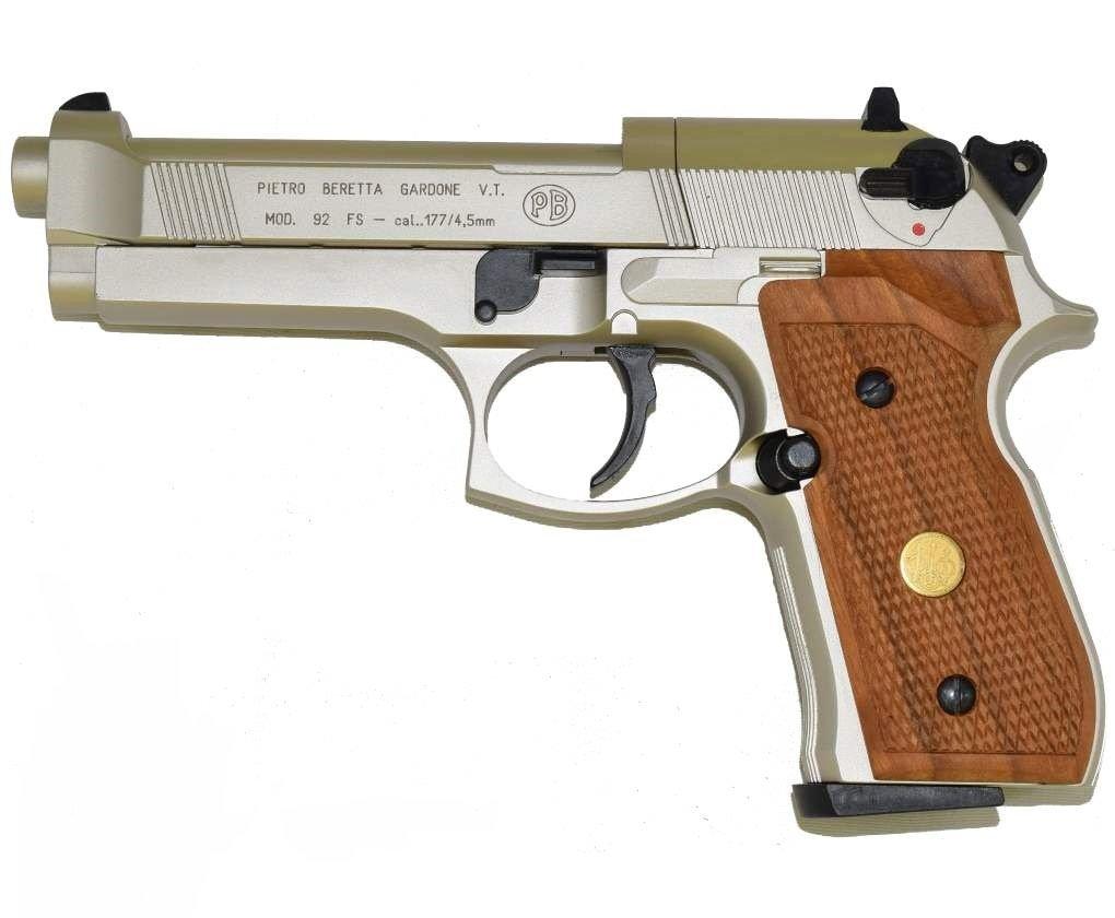 Пистолет Umarex Beretta M92 FS (никель с дерев. накладками) 02017