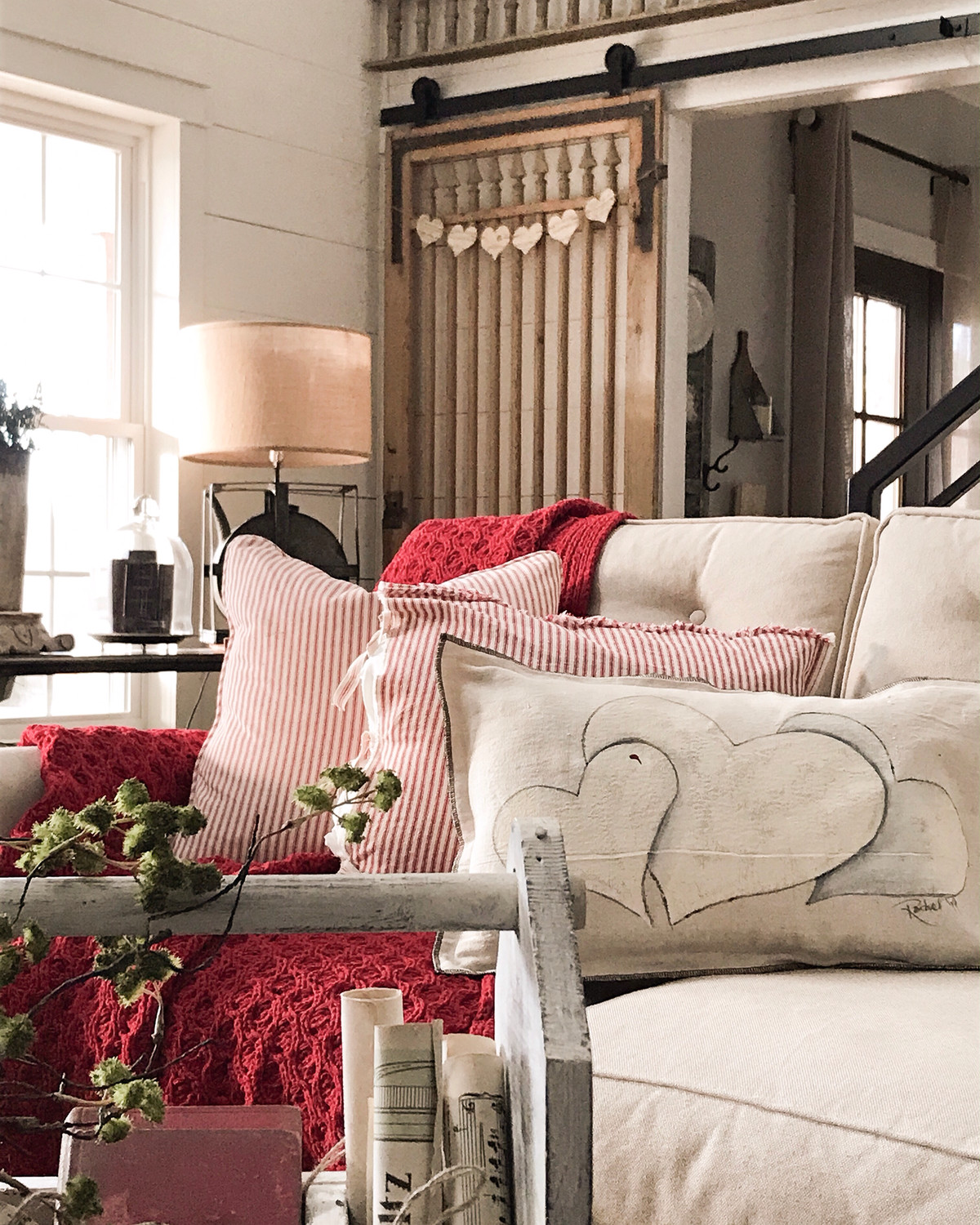 Distressed Ticking Pillow Cover available in two colors