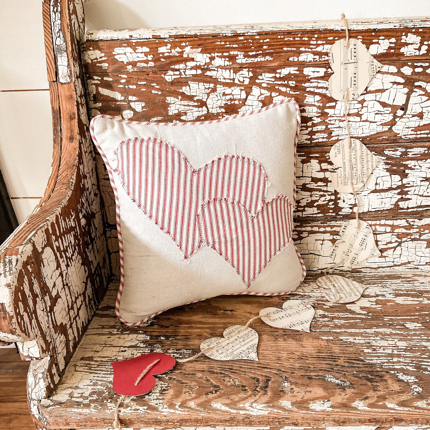 Distressed Ticking Double Heart Pillow Cover