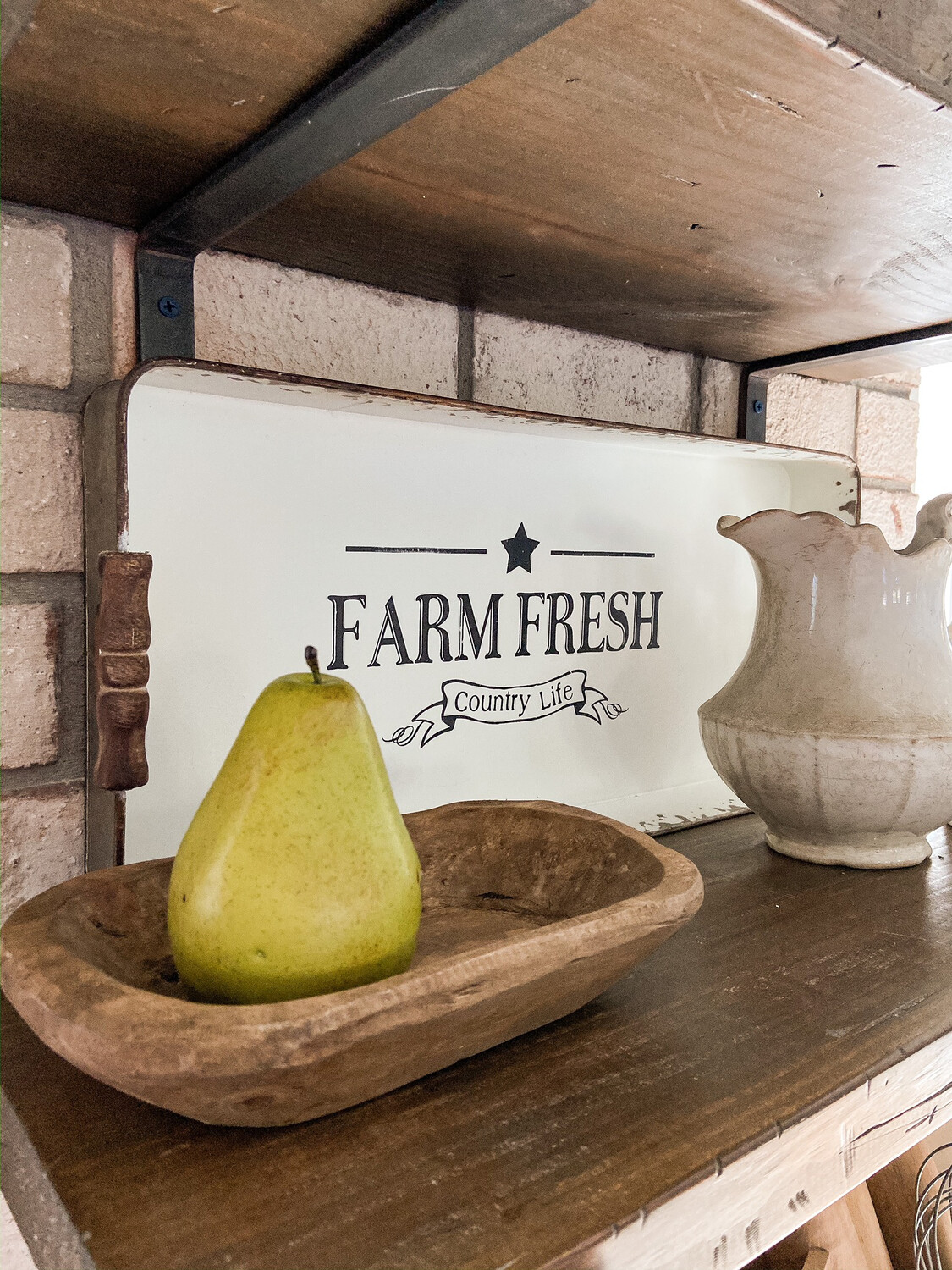 Farmhouse Style Metal Tray With Wooden Handles