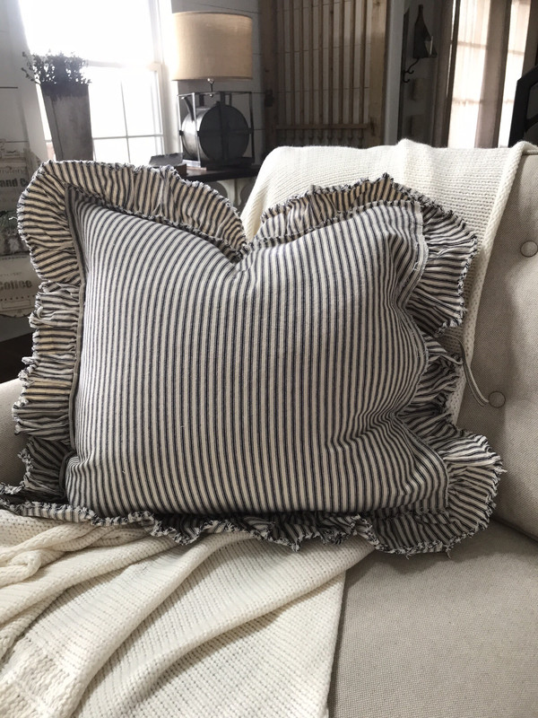Distressed Ruffle Ticking Pillow Cover