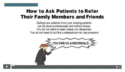 New Patient Referrals One-on-one Training for One Person