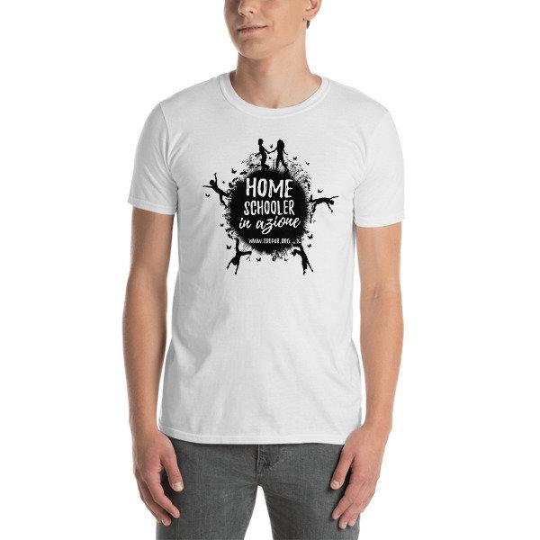 "T-shirt ""Homeschooler in azione"" - bianca"