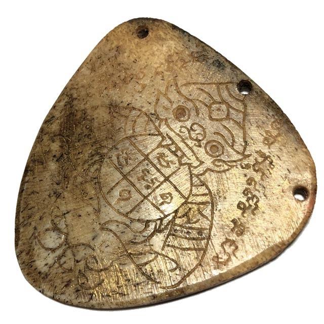 Ban Hneng Graduk Chang Pra Rahu Early Era Elephant Forehead Bone Carving 7x7 Cm Hand Inscriptions Luang Por Pina Free EMS