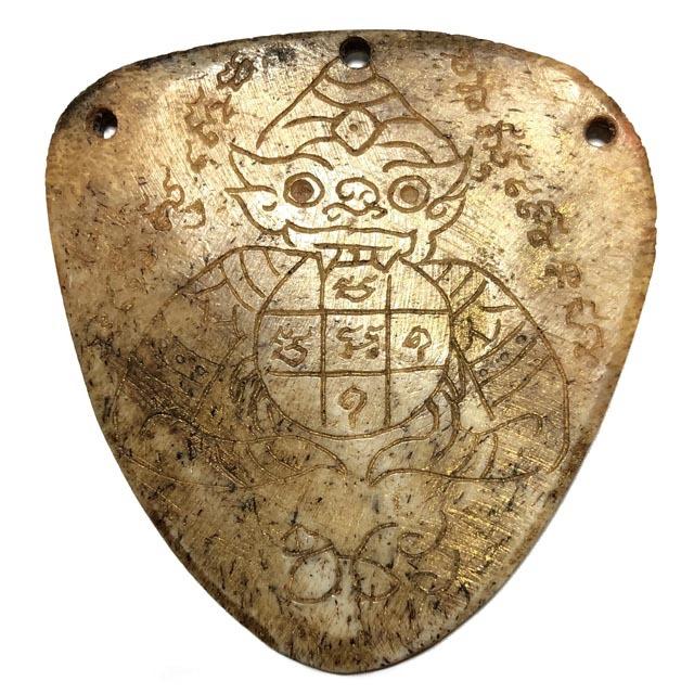 Ban Hneng Graduk Chang Pra Rahu Early Era Elephant Forehead Bone Carving 7x7 Cm Hand Inscriptions Luang Por Pina Free EMS 03757