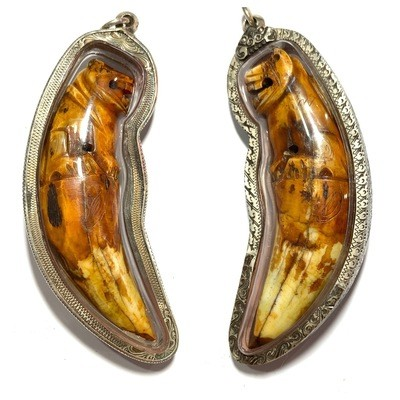 Khiaw Suea Kroeng Gae Tiger Tooth Amulet 4 Inches Hand Spell Inscriptions Silver Custom Casing Luang Por Parn Wat Bang Hia Free EMS