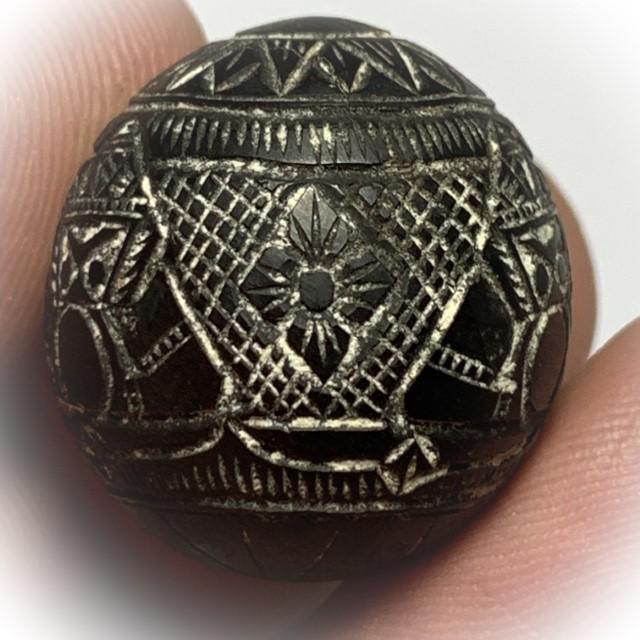 Kot Kala Pra Rahu Mai Mee Ta Ud Kring Eyeless Coconut Carved Asura Deva Eclipse God with Magic Bead Rattle Luang Por Pin Wat Srisa Tong