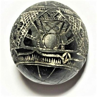 Kot Kala Pra Rahu Mai Mee Ta Ud Kring Eyeless Coconut Carved Asura Deva Eclipse God with Magic Bead Rattle Luang Por Pin Wat Srisa Tong