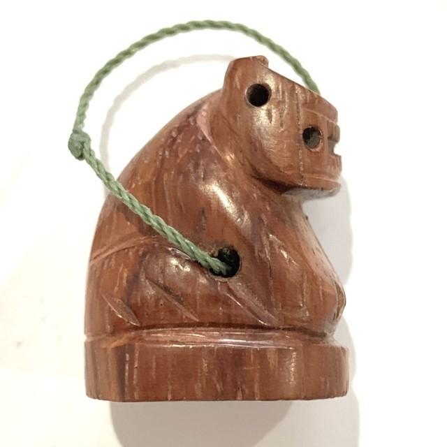 Suea Mai Gae Ud Pong Carved Tiger Amulet Sacred Powder in Base Luang Por Kong Wat Wang Sapparos