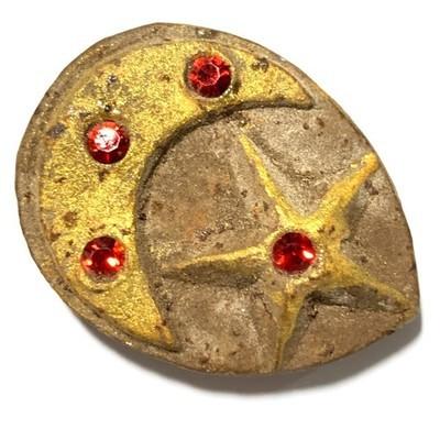 Daw Aathan Mae Nuea Horm Lucky Star Pentacle & Lunar Crescent Amulet 4 Gems Hand Inscriptions Luang Por Pina FREE EMS