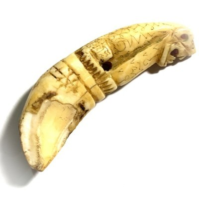 Khiaw Suea Fai Golden Jungle Cat Tooth Hand Inscriptions Luang Por Nok Wat Sangkasi