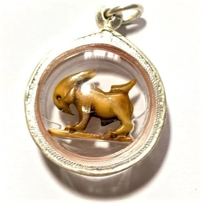 Pae Maha Lap Nga Gae Luang Por Am Carved Ivory Lucky Goat Silver Casing Free EMS