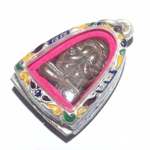 Pra Pid Ta Maha Ud Nuea Nava Loha with solid silver enamelled casing - Luang Por Niyom Wat Takian Tia - extremely rare! 02528