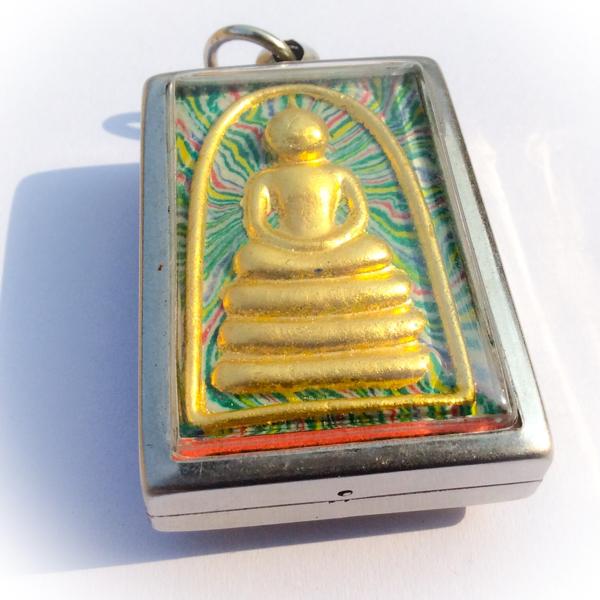 Pra Somdej Pim Kaiser Sai Rung - Green Rainbow Powders - Wat Pikul Tong Centenary Edition - Gold Takrut - Luang Por Pae 2535 BE 02556