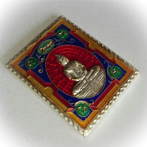Rian Stamp Luang Por Sotorn (Red) - Nuea Galai Ngern Long Ya Benjarongk - Uposadha Building Edition 2539 BE