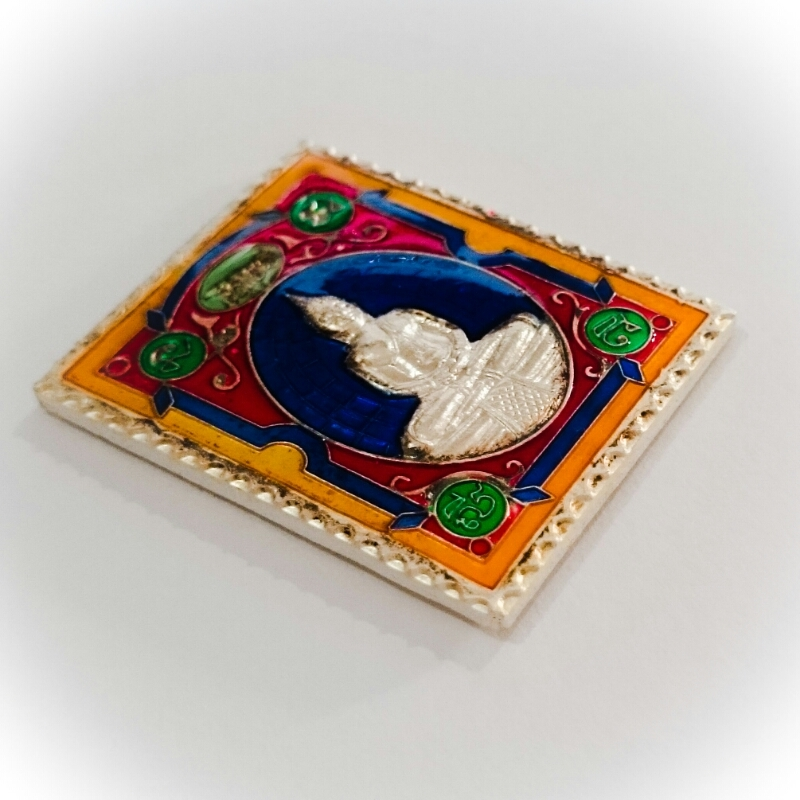 Rian Stamp Luang Por Sotorn (Blue) - Nuea Galai Ngern Long Ya Benjarongk - Uposadha Building Edition 2539 BE