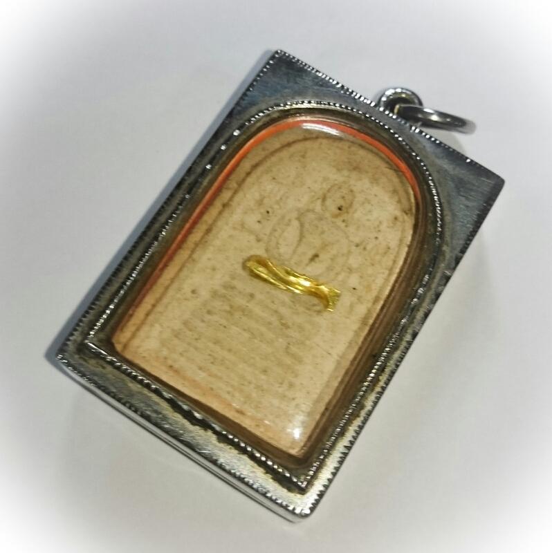 Pra Somdej Gao Chan Khang Na Buddha on 9 Tiered Dais Amulet Solid Gold Takrut 2543 BE 84th Birthday Edition - Luang Por Chern Wat Koke Tong (Ayuttaya) 02647