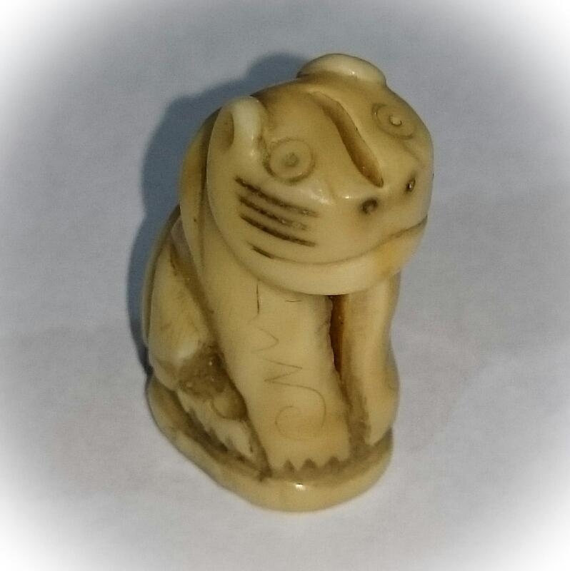 Suea Gae - Nuea Nga - Carved Ivory Tiger Amulet - Luang Por Nok - Wat Sangkasi - Circa 2460 BE - Kong Grapan Chadtri Maha Amnaj Talismanic Amulet of Master Class Status 02651