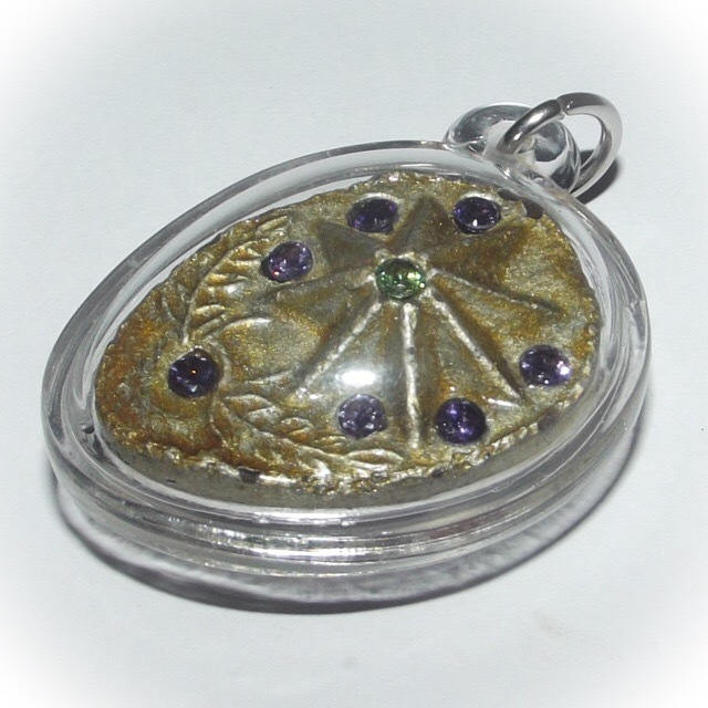 Daw Nai Pan - Lucky Star 5 and 8 Pointed Pentacle Amulet (2 sided) - Luang Por Pina - Wat Sanom Lao 02681