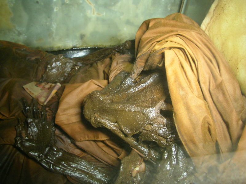 The corpse of Luang Por Pina which was found in meditation posture, dead since over 12 Hours, but was still warm to the surprise of those who found him, because a corpse that is dead for over 12 hours should be still as a board and cold.. his body was not mummified or given any special treatment according to his wishes and placed in his mausoleum