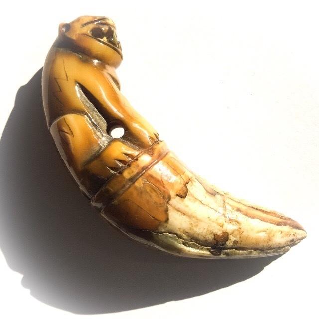 Khiaw Suea Tiger Tooth Amulet - Luang Por Parn Wat Bang Hia (2368 - 2453 BE) - Kong Grapan Chadtri Maha Amnaj Talismanic Amulet of Master Class Status 02754