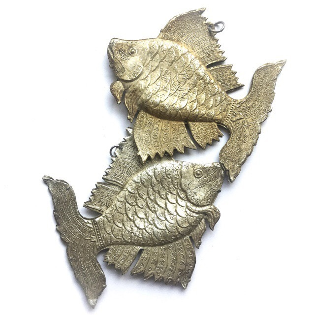Pla Tapian Koo Ngern-Tong Lucky Barb Fish for Prosperity and Good Business - 4 Inches - Luang Por Te Wat Sam Ngam 02791