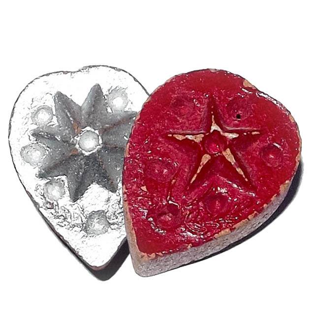 Daw Nai Pan Nai Pon Pim Lek - Lucky Star 5 and 8 Pointed Pentacle Amulet - Luang Por Pina - Wat Sanom Lao 02818