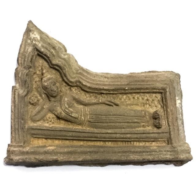 Pra Kru Kone Samor Pim Sayasana - Over 200 Year Old Ayuttaya Period Clay Buddha Amulet - 2430 BE Royal Palace Hiding Place Find 02917