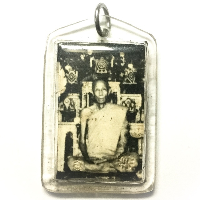 Roop Tai Khaw Dam Hlang Bpam Yant Dtok Code 2519 BE - Blessed Guru Monk Photograph With Temple Ink Stamp Yantra - Luang Phu To Wat Pradoo Chimplee 02958