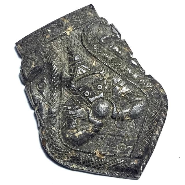 Rahu Om Jantr Pim Sema Kwam Niyom Krob Suudt 1 Eyed Coconut Shell Carved Asura Deva Eclipse God + Spell Inscriptions - Luang Por Pin Wat Srisa Tong 03039