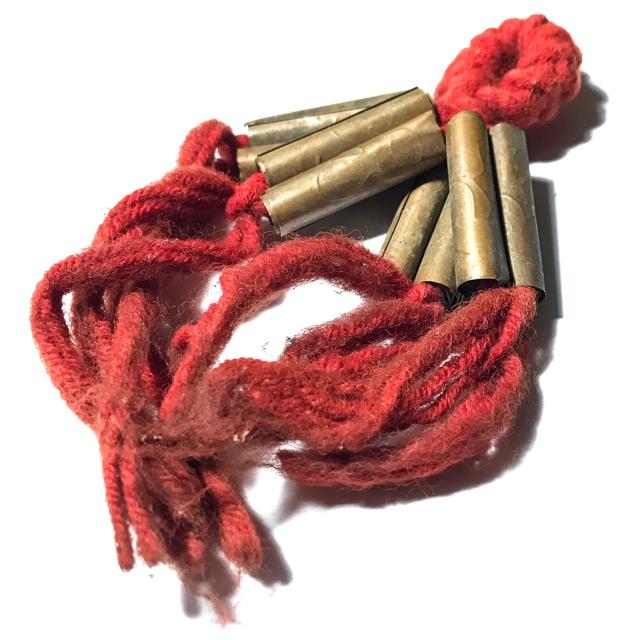 Takrut Sariga Paed Dork Wicha Lanna Boran 8 Yantra Scroll Spells on Red Spellbound Cord - Kroo Ba Kam Saen Wat Pha Don Moon 03098