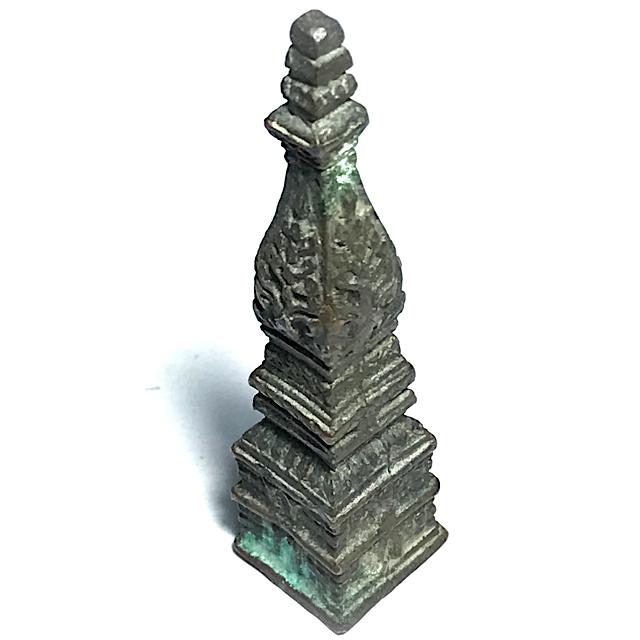 Roop Lor Pratat Panom Jamlong 2 Inches High Sacred Buddha Relic Chedi Stupa of Wat Pratat Panom Circa 2500 BE 03119
