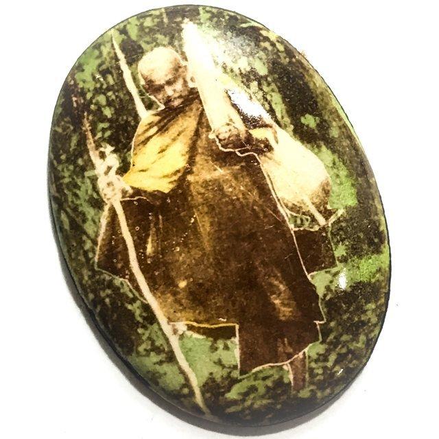 Locket Roop Khai Roop Muean Tudong Dtid Jiworn Cameo Amulet with Civara Robe on Rear Face - Luang Por Phang Jidtakudto Wat Kongka Kirikhaet