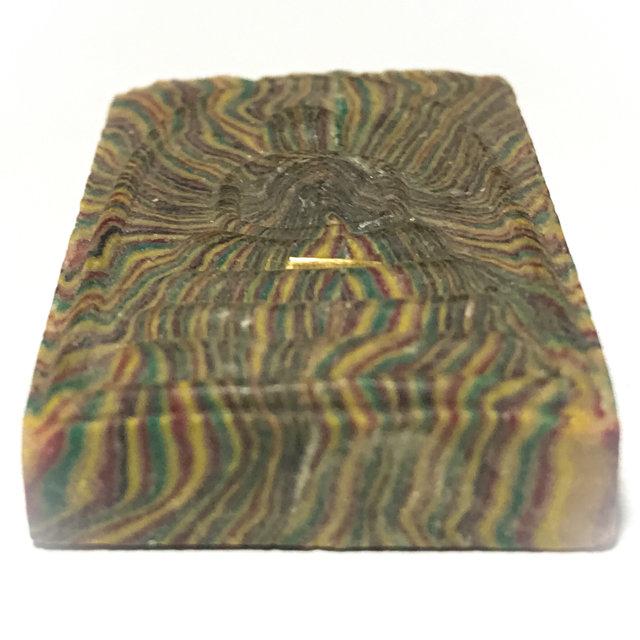 Pra Somdej Pim Yai Sai Rung Green Rainbow Powders Solid Gold Takrut Solid Silver Casing  - Luang Por Pae