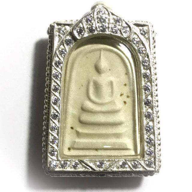 Pra Somdej Nuea Pong 2516 BE Silver Frame + Rhinestones Wat Sampant Wongs Shrineroom Building Edition - Luang Phu Waen Sujinno 03234
