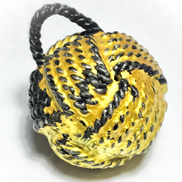 Look Om Takror Mad Chueak Long Rak Pid Tong Sacred Wishing Ball Amulet Cord Wrapped Lacquered Gold Leaf - Luang Por Tong Bai Wat Ob Tom 03281