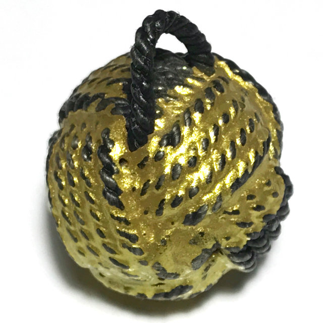 Look Om Takror Mad Chueak Long Rak Pid Tong Sacred Wishing Ball Amulet Cord Wrapped Lacquered Gold Leaf - Luang Por Tong Bai Wat Ob Tom