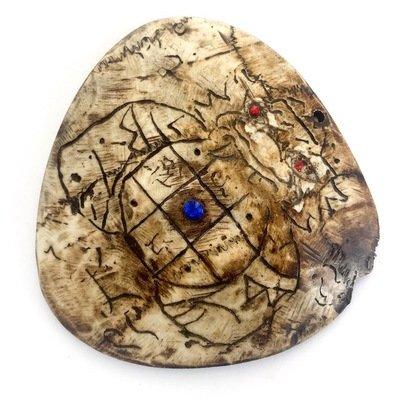 Pra Rahu Kala Ta Diaw Phueak One Eyed Albino Coconut Shell Eclipse God (Early Era) - Gemstone Inserts Hand Inscription - Luang Por Pina Wat Sanom Lao
