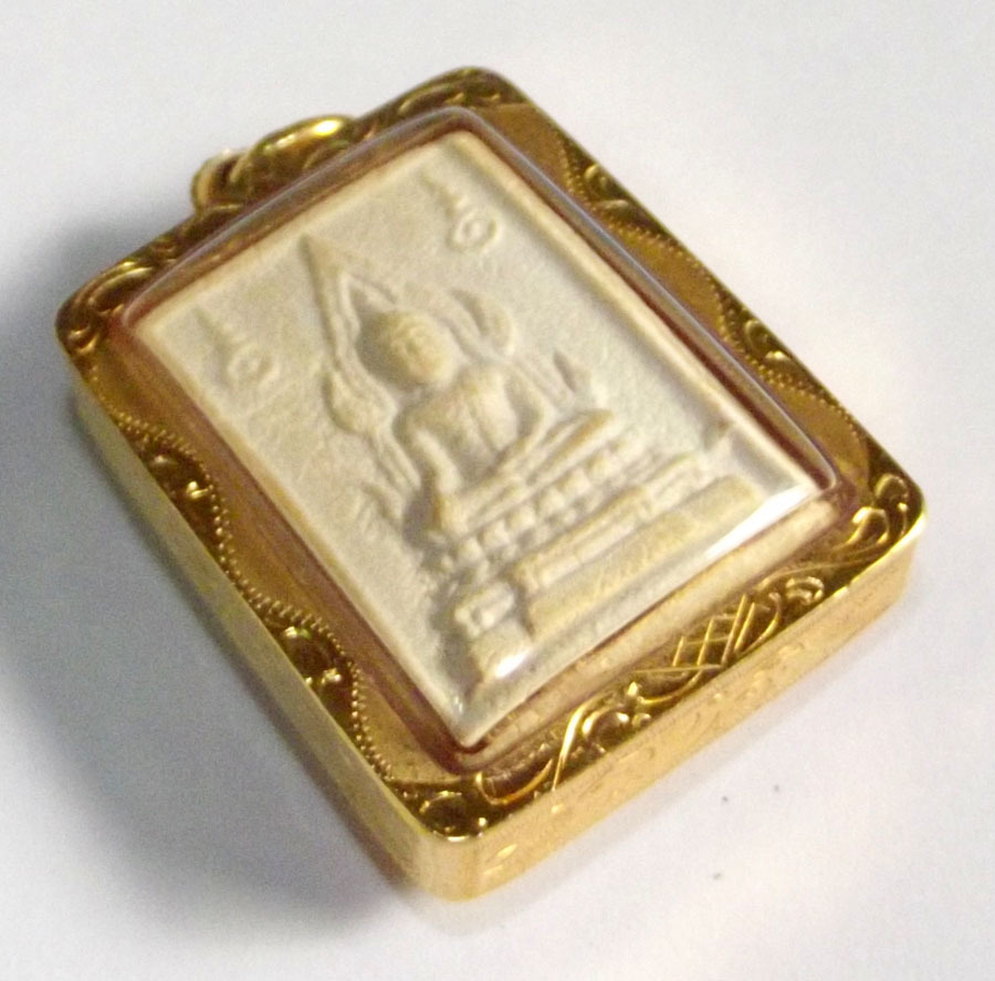 Somdej Pra Kam Khaw Maha Lap - Nuea Pong Puttakun - Solid Gold Waterproof Casing - Luang Por Ruesi Ling Dam - Wat Ta Sung 2533 BE 00023