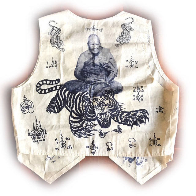 Suea Yant Khee Suea Luang Por Phern Tidtakuno Wat Bang Pra Sacred Yantra Cloth Shirt 03432